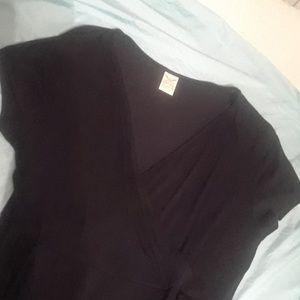 Faded glory XL 16/18 Black faux wrap slinky dress
